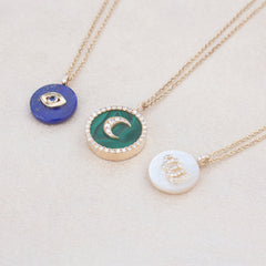 Noush 14ct gold, lapis and diamond moon necklace