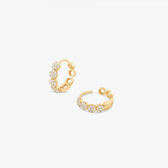 Dinny Hall 14ct yellow gold and diamond Shuga huggie hoops (pair)