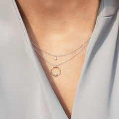 The Alkemistry 18ct bi-gold floating diamond circle necklace