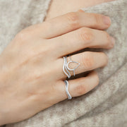 The Alkemistry 18ct white gold diamond wave pinky ring