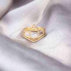 The Alkemistry 18ct yellow gold and diamond pear ring