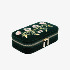 WOLF luxury forest green floral velvet jewellery zip case
