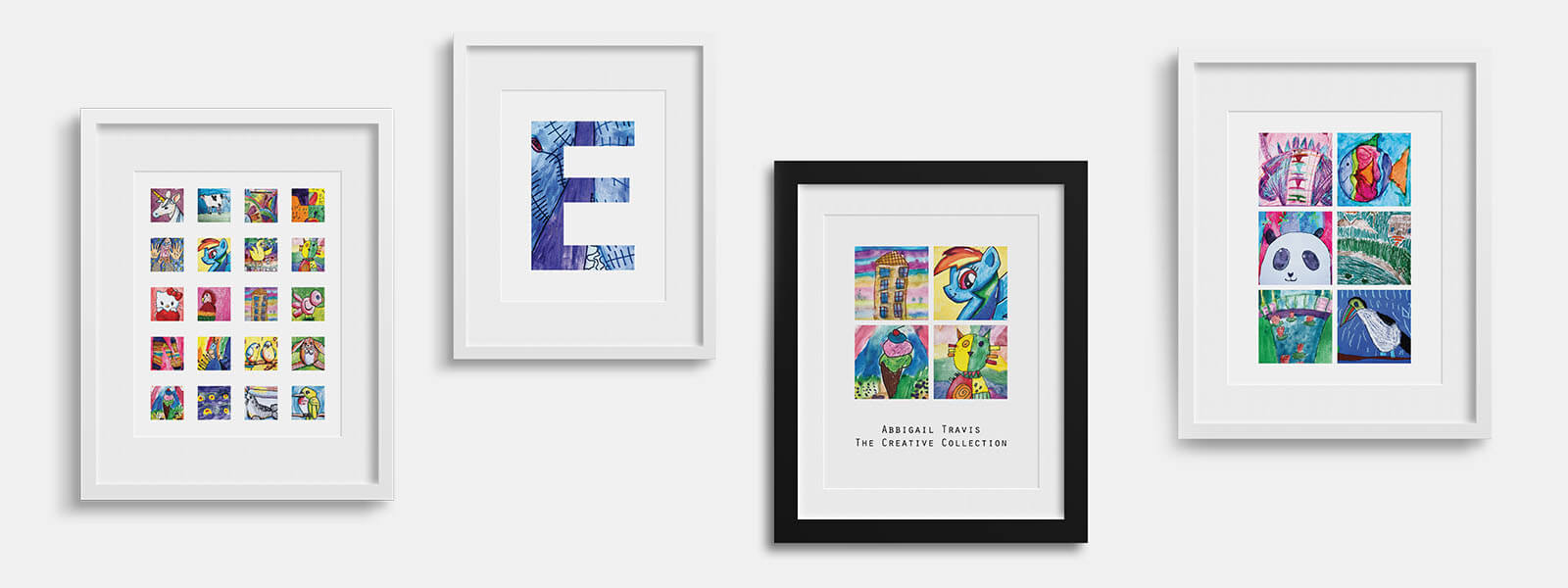 Display kids art as a poster print and hang in kids room, playrooms, living rooms as kids wall decor