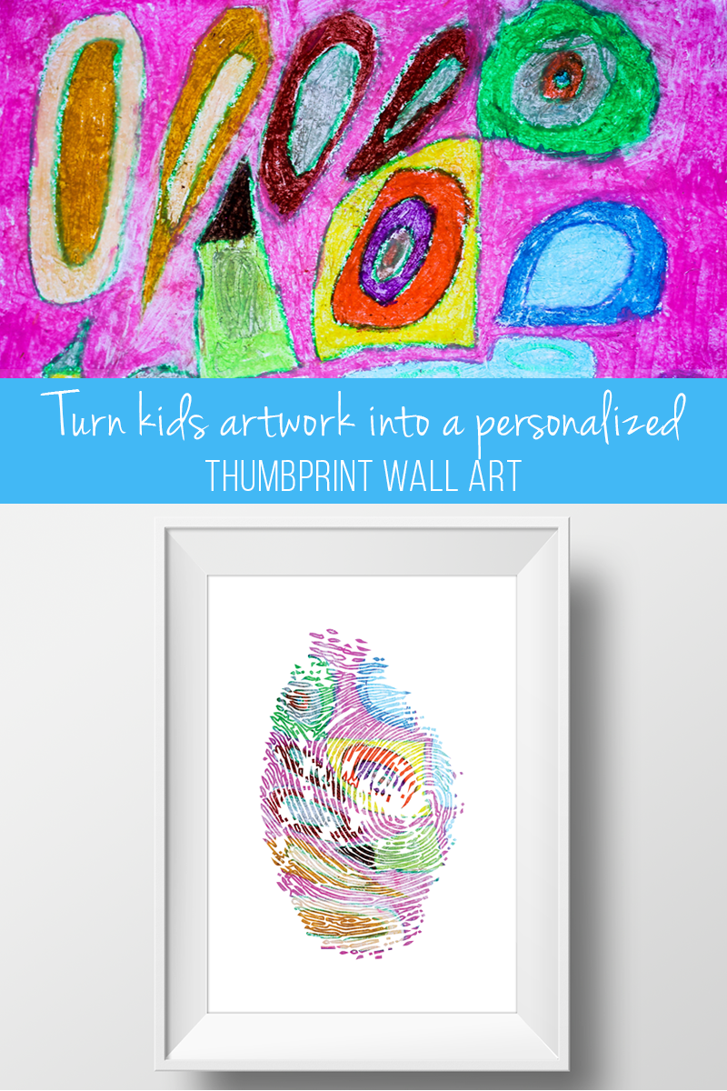 Create a personalized gift for creative kids using their artwork and thumbprint
