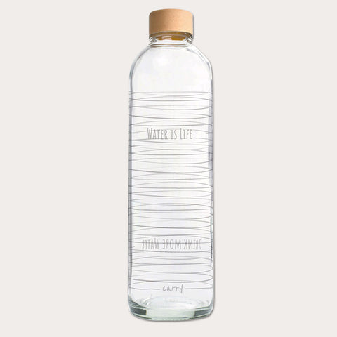 Drikkeflaske i glas - WATER IS LIFE - 1000 ml