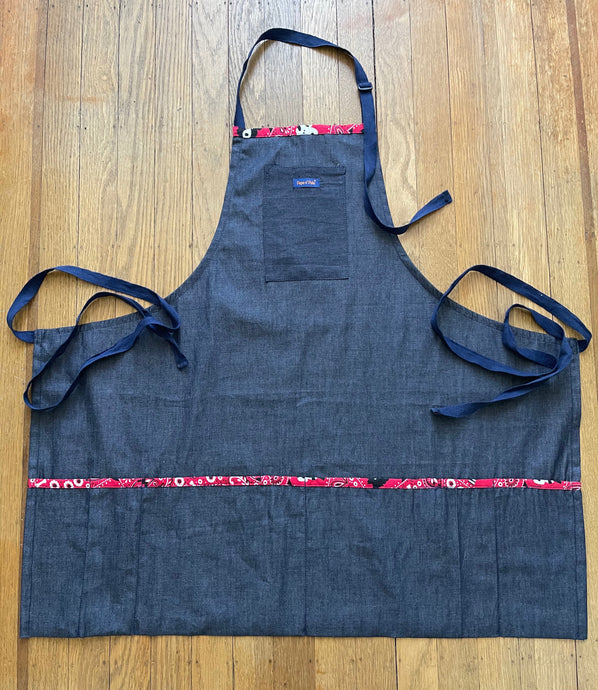 Multi Purpose Denim Bib Apron- Thigh Length