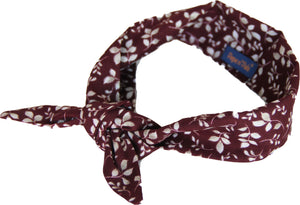 Beautiful Dark Red Velvet Leave Print Neckerchief