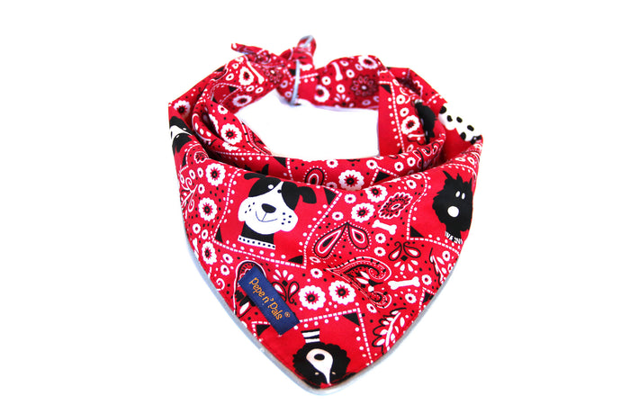 Dog Red Paisley Reflective Bandana