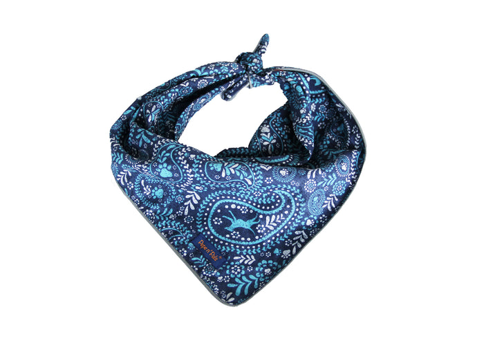 Blue Paisley Reflective Dog Bandana