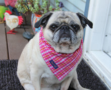 Load image into Gallery viewer, Pretty in Pink Plaid Cotton Dog Bandana