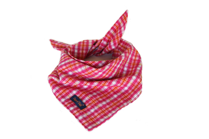 Pretty in Pink Plaid Cotton Dog Bandana