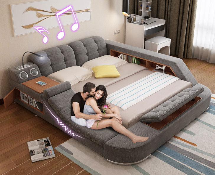The Ultimate Bed with Integrated Massage Chair and Bluetooth Speakers