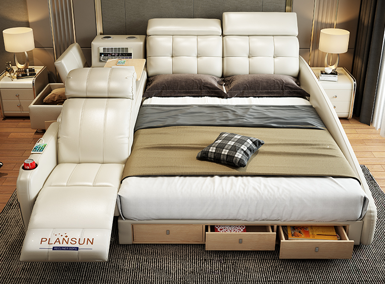 The ultimate bed enclosure system integrated with a massage chair and inbuilt speakers white color