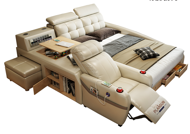The ultimate bed enclosure system integrated with a massage chair and inbuilt speakers