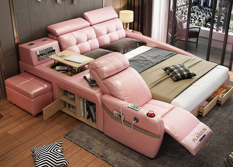 The ultimate bed enclosure system integrated with a massage chair and inbuilt speakers-Pink color