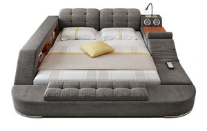 The Ultimate Bed with Integrated Massage Chair and Bluetooth Speakers. Grey