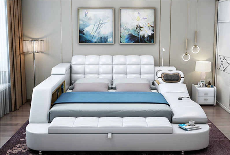 Multifunctional bed with head massager