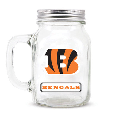 Cincinnati Bengals Glass Mason Jar
