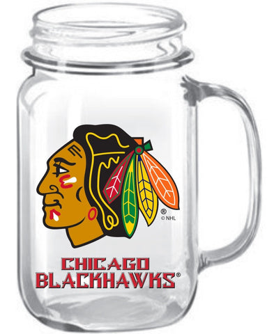 Chicago Blackhawks Glass Mason Jar