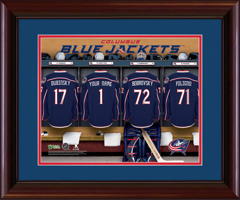 Personalized NHL Locker Room Print - Columbus Blue Jackets