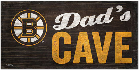 NHL Dad's Cave - Boston Bruins Wooden Sign