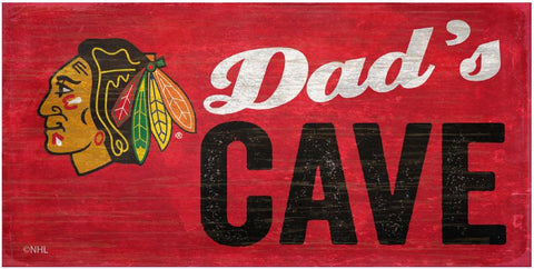 NHL Dad's Cave - Chicago Blackhawks Wooden Sign