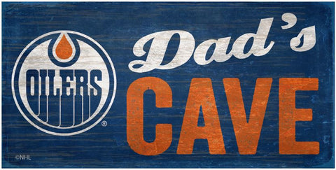 NHL - Dad's Cave - Edmonton Oilers Wooden Sign