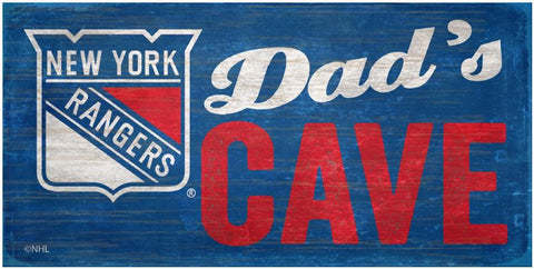 NHL Dad's Cave - New York Rangers Wooden Sign