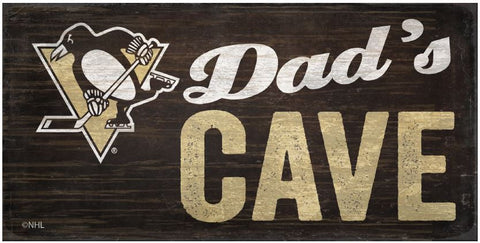 NHL Dad's Cave - Pittsburgh Penguins Wooden Sign