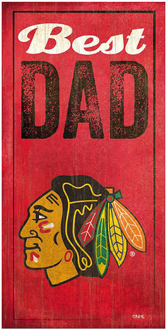 NHL - Best Dad - Chicago Blackhawks Wooden Sign