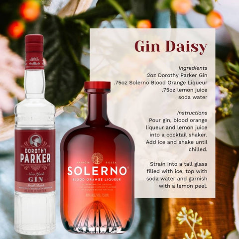 Bottles of Dorothy Parker Gin and Solerno Blood Orange Liqueur next to a cocktail recipe.