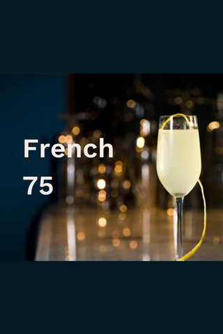 French 75 champagne flute with lemon peel garnish