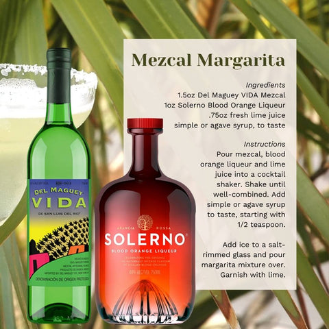 Bottle of Del Maguey Vida and Solerno Blood Orange Liqueur with a cocktail recipe.
