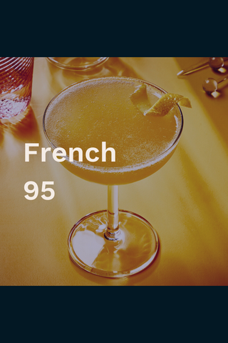 French 95 bourbon cocktail aerial view with orange twist