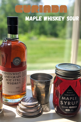 All Points West Whiskey bottle with maple syrup for Maple Whiskey Sour recipe