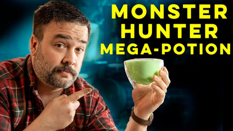YouTube Thumbnail of Greg Titian with a Cocktail for the Monster Hunter Rise How To Drink Episode.