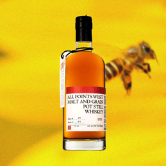 bottle of whiskey against a yellow backdrop