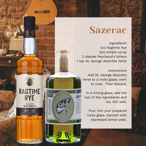 Bottles of NY Distilling Ragtime Rye and St. George Absinthe Verte next to a cocktail recipe.