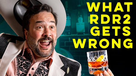 man with cowboy hat holding cocktail for How to Drink YouTube video rdr 2