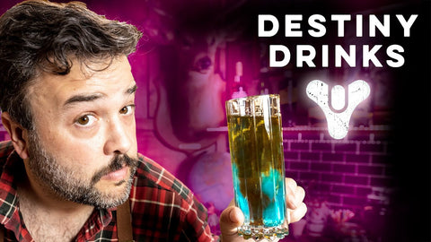 YouTube thumbnail of Greg Titian of How to Drink holding a cocktail from the Destiny Drinks Episode