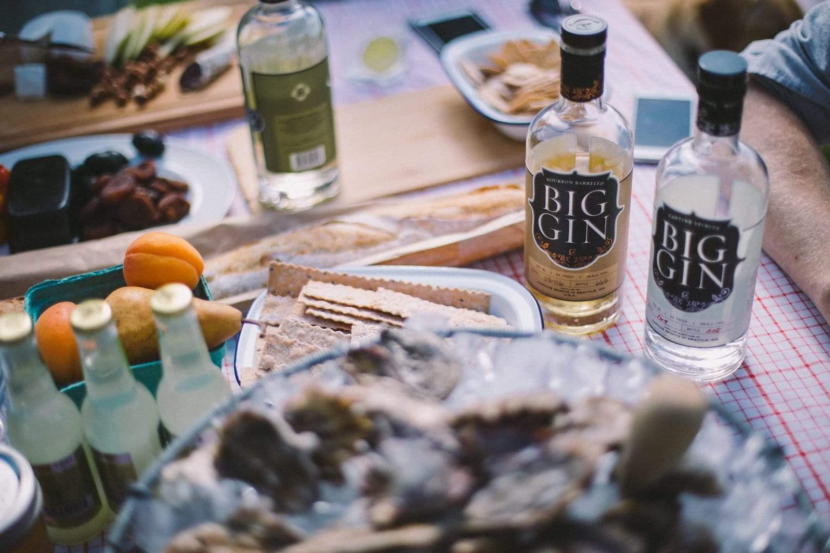 Tablescape with three bottles of Big Gin
