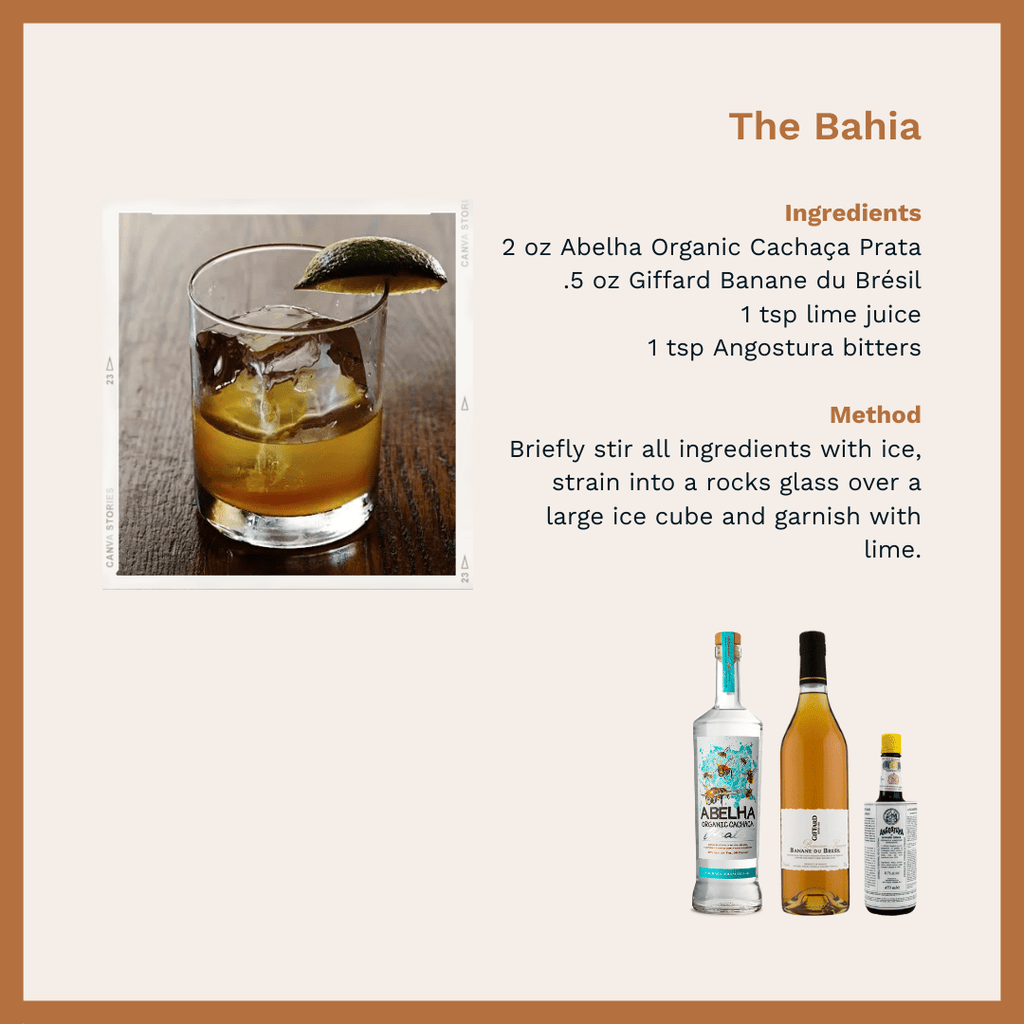 Bahia cocktail photo accompanying a recipe card.