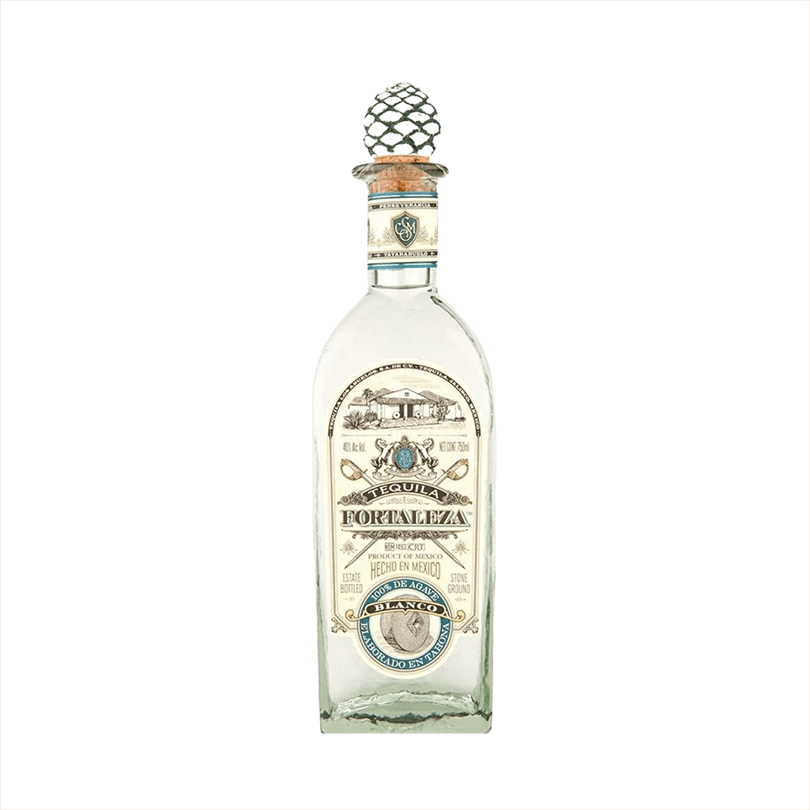 Bottle image of Fortaleza Tequila Blanco rounded bottle with vintage looking label.