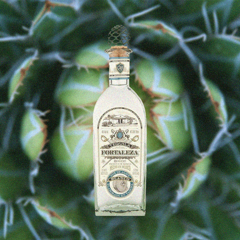 Bottle of Fortaleza Tequila Blanco transposed over a backdrop of a vibrant green agave plant.