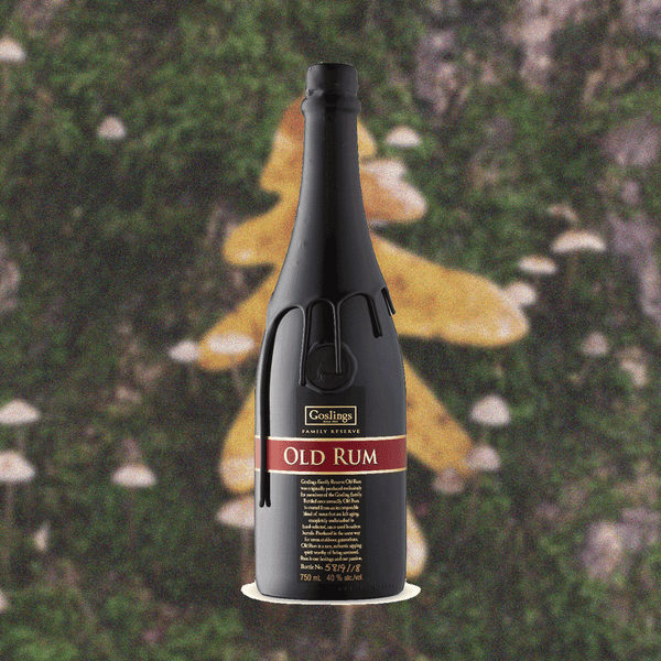 Bottle of hand-bottled Gosling's Family Reserve Old Rum over a backdrop image of the outdoors.