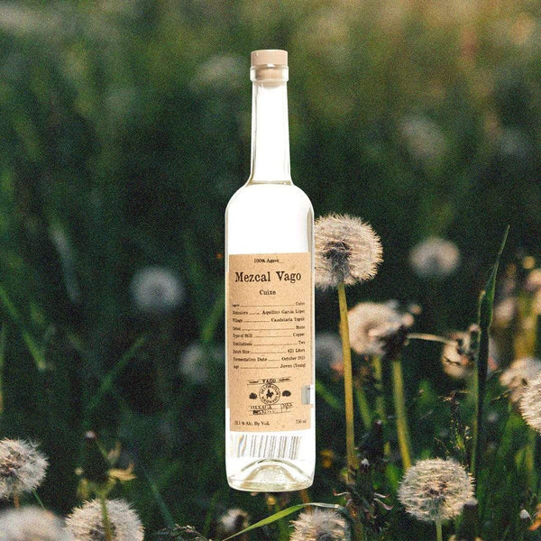 Bottle image of Mezcal Vago Cuixe on a background of dandelions and grass