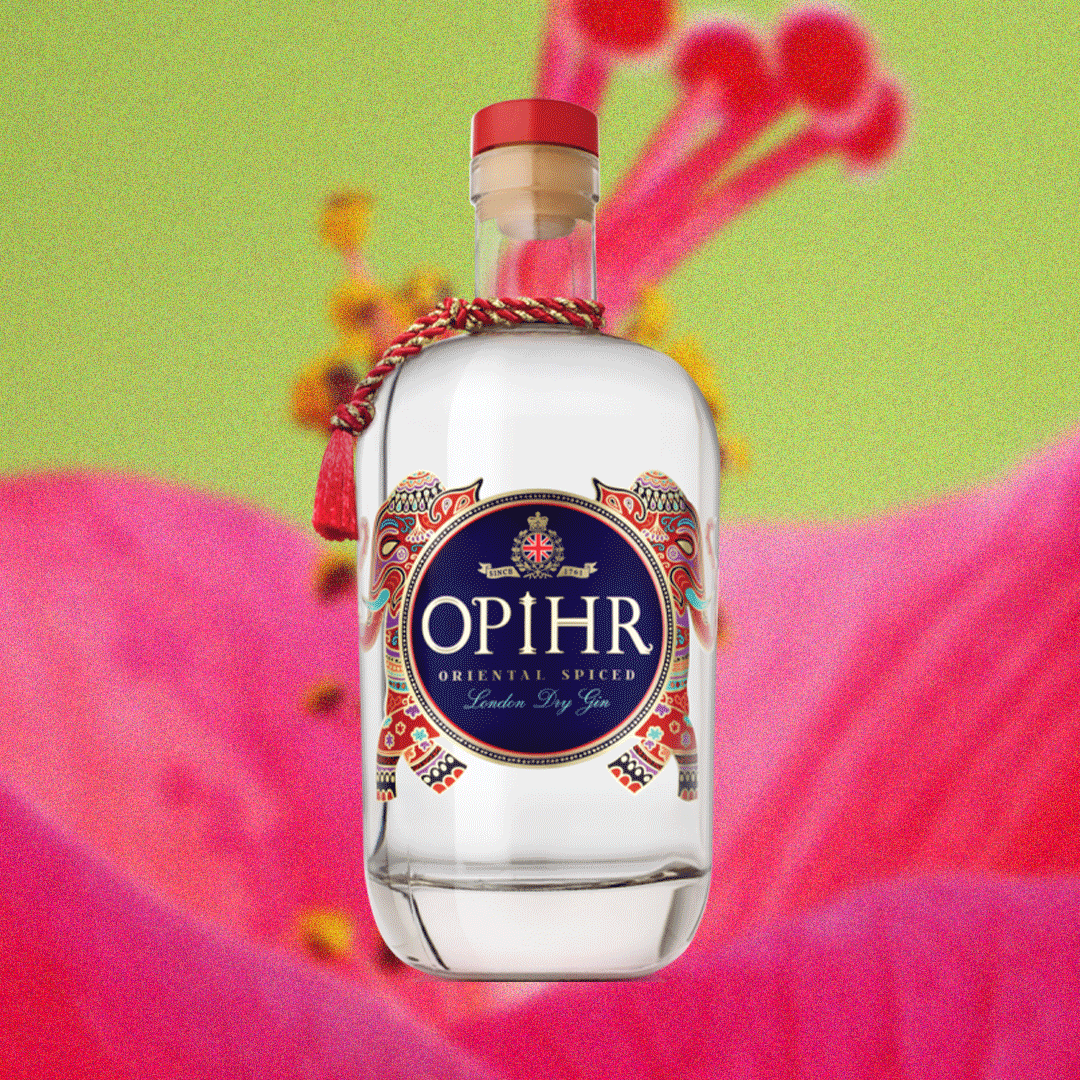 Bottle image of Opihr Oriental Spiced London Dry Gin over bright pink and green background image.