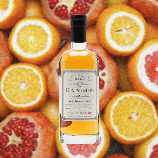 Bottle image of Ransom Old Tom Gin over a background image of fruit.