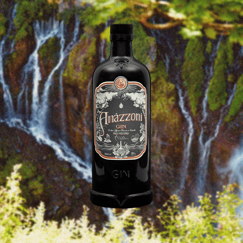 Bottle image of Amazzoni Gin Rio Negro over faded background of a waterfall and nature