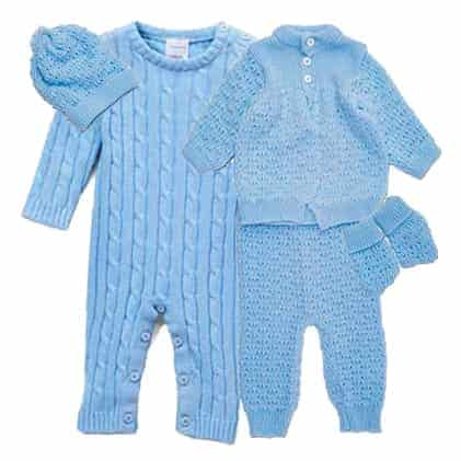 5 pc Knit Boxed Cardigan Blue Set